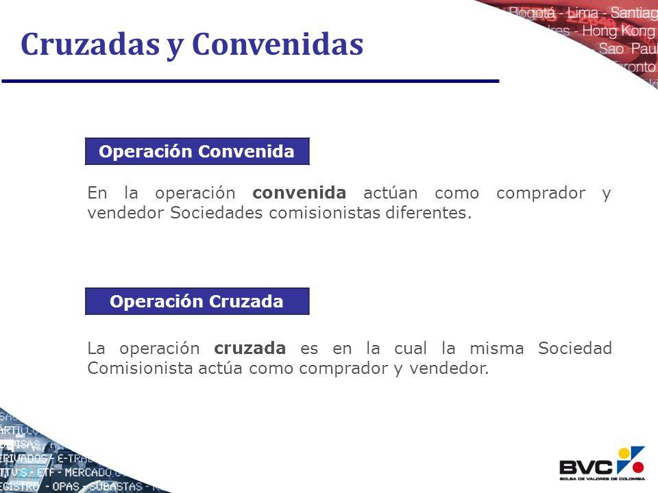 Cruzadas y Convenidas Operación Convenida La operación cruzada es en la cual la misma Sociedad Comisionista actúa como comprador y vendedor. En la ope