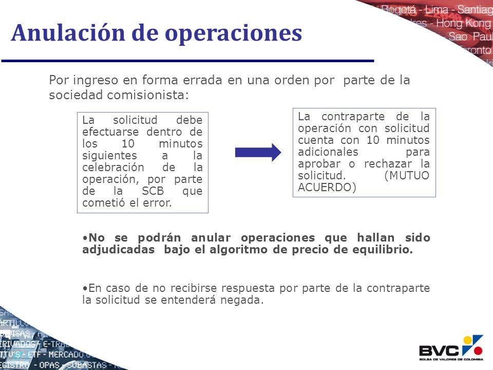 Anulación de operaciones Por ingreso en forma errada en una orden por parte de la sociedad comisionista: La solicitud debe efectuarse dentro de los 10