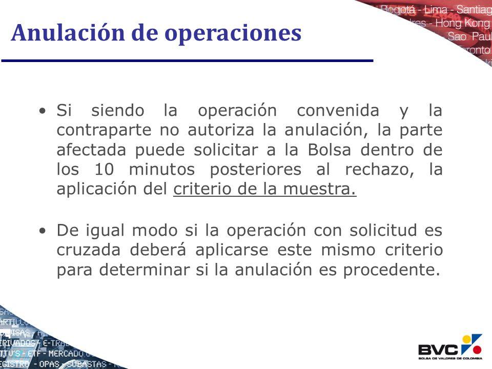 Anulación de operaciones Si siendo la operación convenida y la contraparte no autoriza la anulación, la parte afectada puede solicitar a la Bolsa dent
