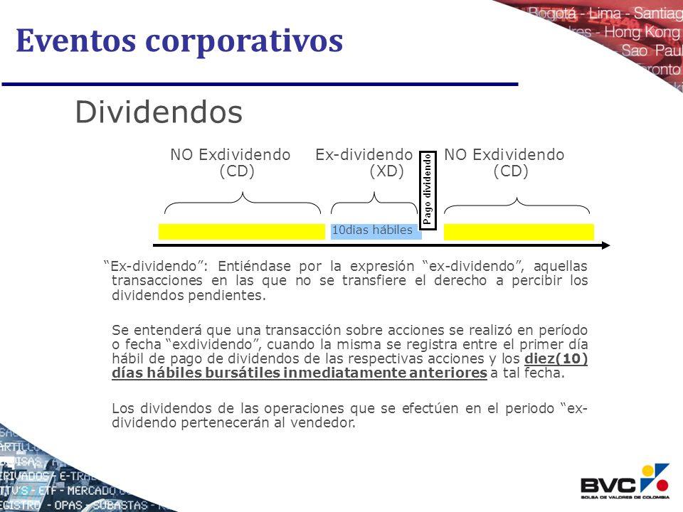 Eventos corporativos Dividendos Ex-dividendo: Entiéndase por la expresión ex-dividendo, aquellas transacciones en las que no se transfiere el derecho