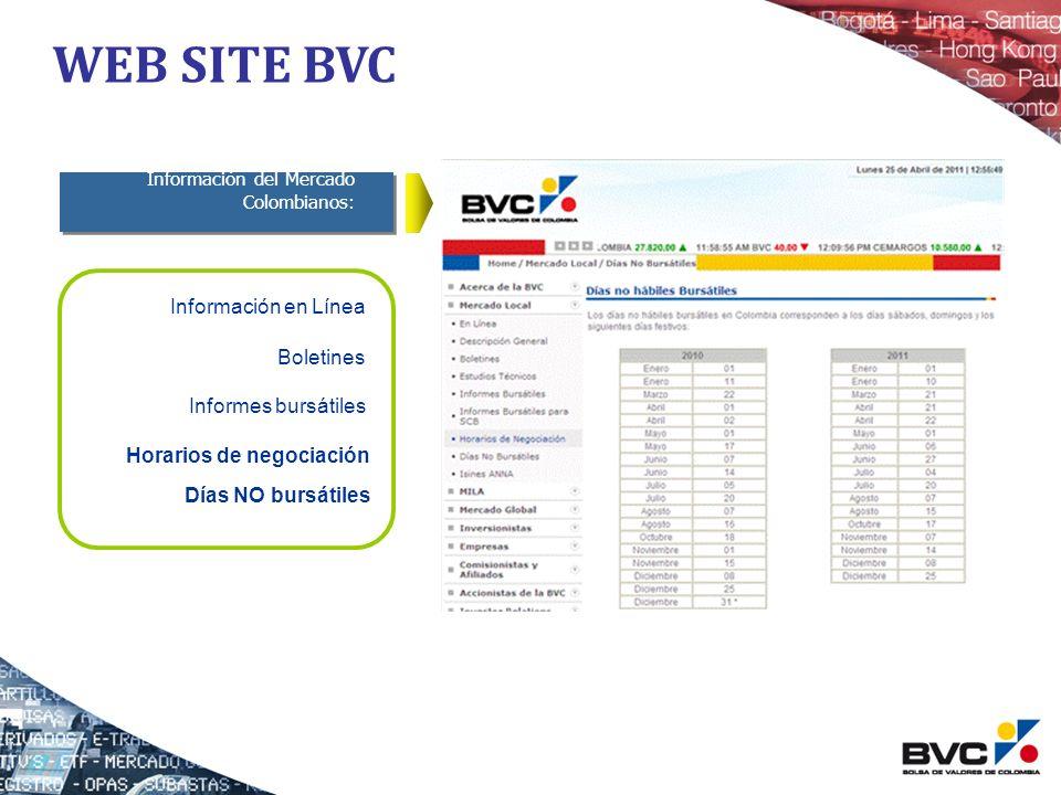 Información del Mercado Colombianos: Información en Línea Boletines Informes bursátiles Horarios de negociación WEB SITE BVC Días NO bursátiles