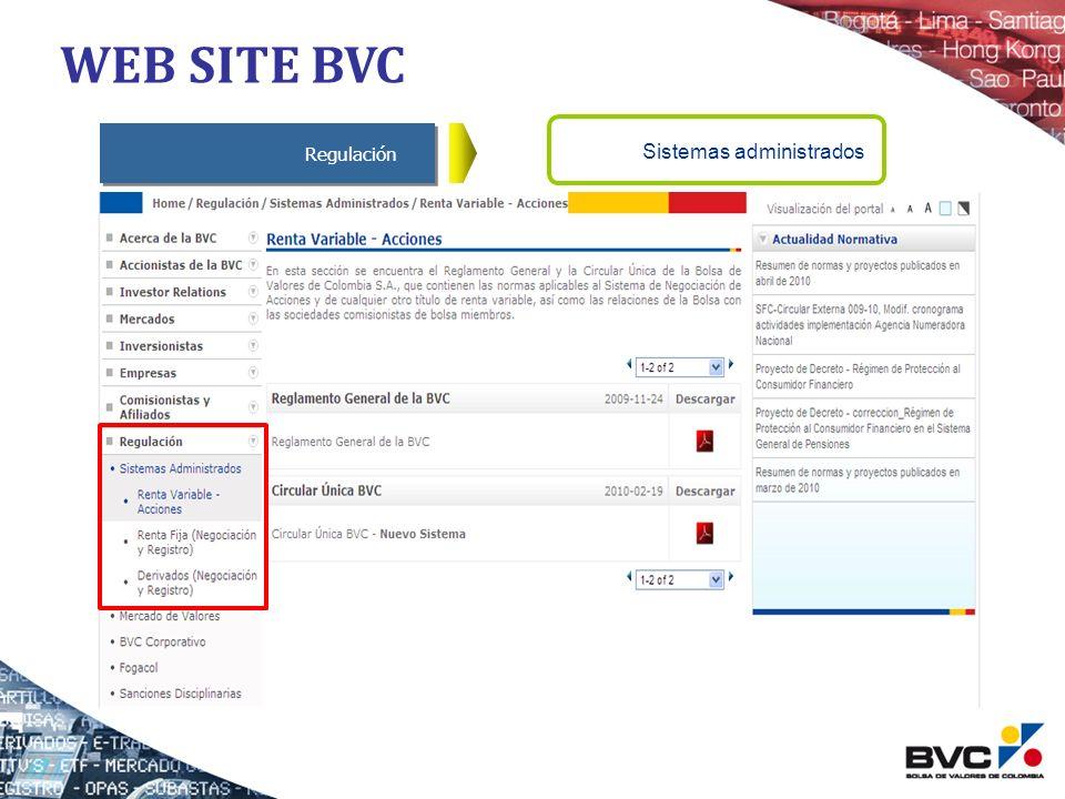 Regulación Sistemas administrados WEB SITE BVC