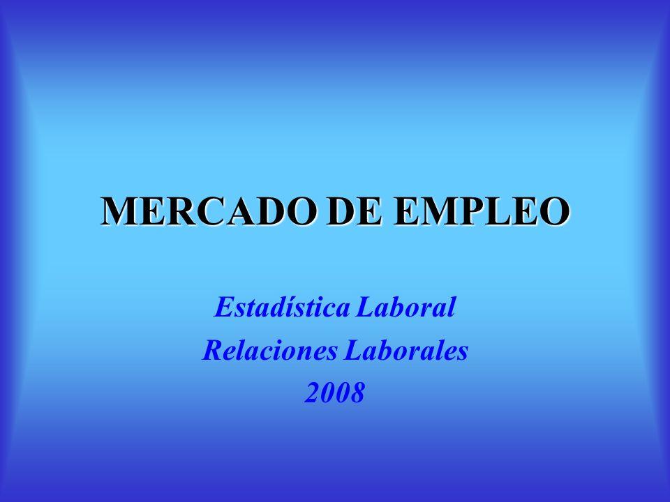 MERCADO DE EMPLEO Estadística Laboral Relaciones Laborales 2008