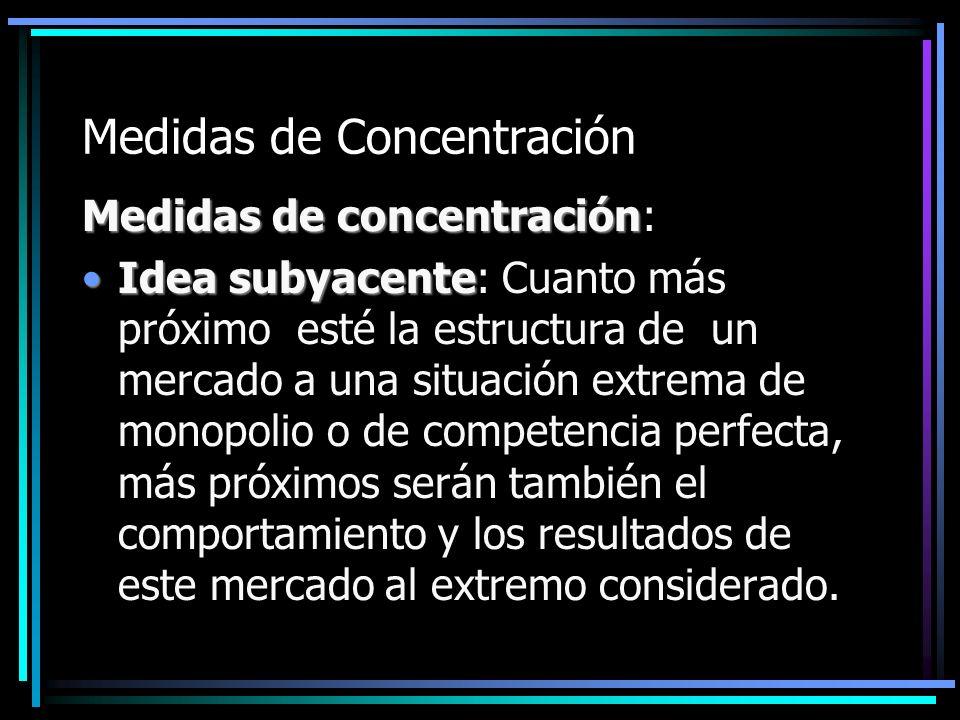 Medidas de Concentración Medidas de concentración Medidas de concentración: Idea subyacenteIdea subyacente: Cuanto más próximo esté la estructura de u