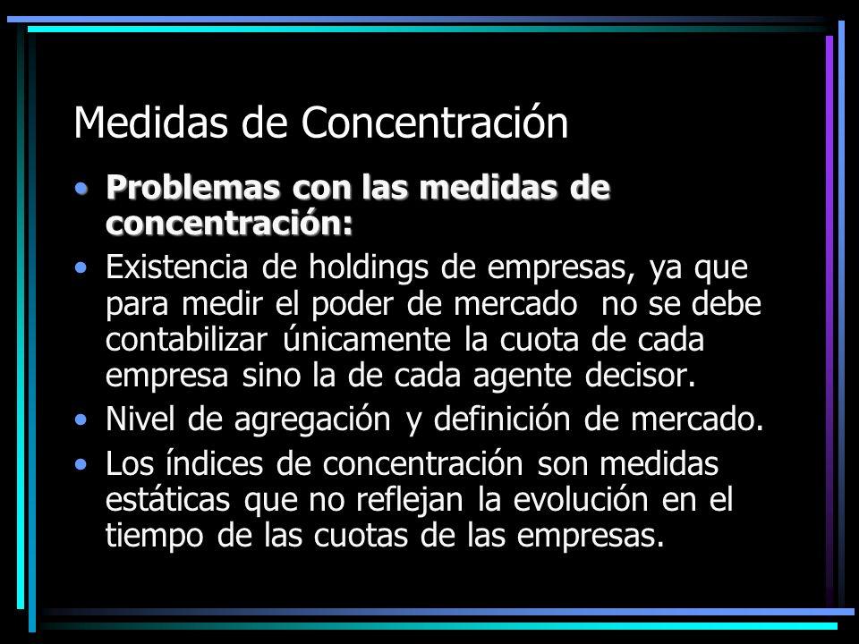 Medidas de Concentración Problemas con las medidas de concentración:Problemas con las medidas de concentración: Existencia de holdings de empresas, ya