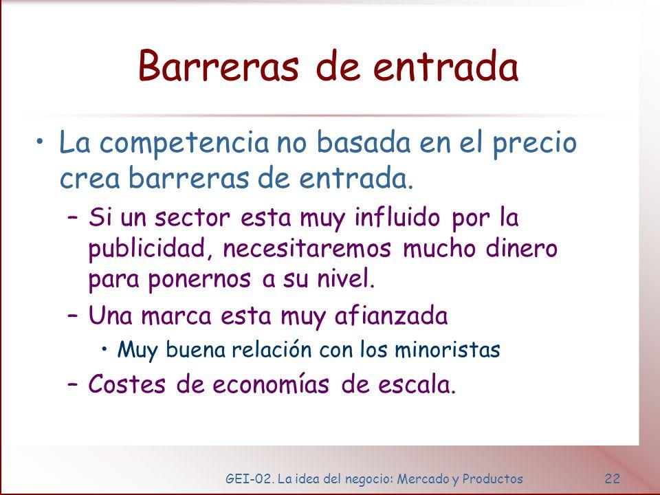 GEI-02. La idea del negocio: Mercado y Productos22 Barreras de entrada La competencia no basada en el precio crea barreras de entrada. –Si un sector e