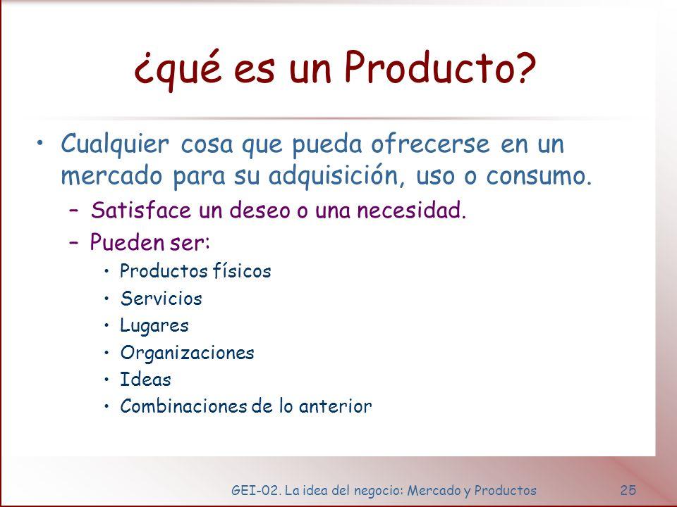 GEI-02. La idea del negocio: Mercado y Productos25 ¿qué es un Producto? Cualquier cosa que pueda ofrecerse en un mercado para su adquisición, uso o co