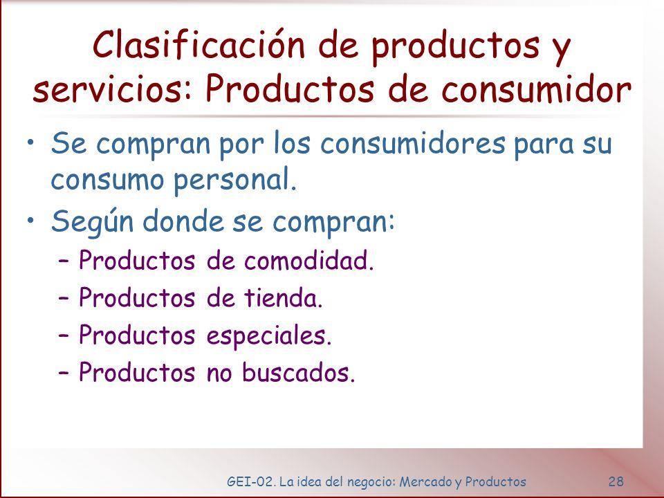 GEI-02. La idea del negocio: Mercado y Productos28 Clasificación de productos y servicios: Productos de consumidor Se compran por los consumidores par