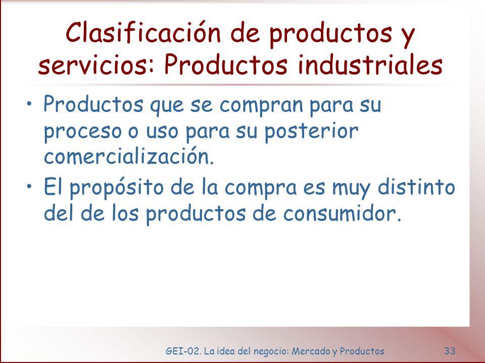 GEI-02. La idea del negocio: Mercado y Productos33 Clasificación de productos y servicios: Productos industriales Productos que se compran para su pro