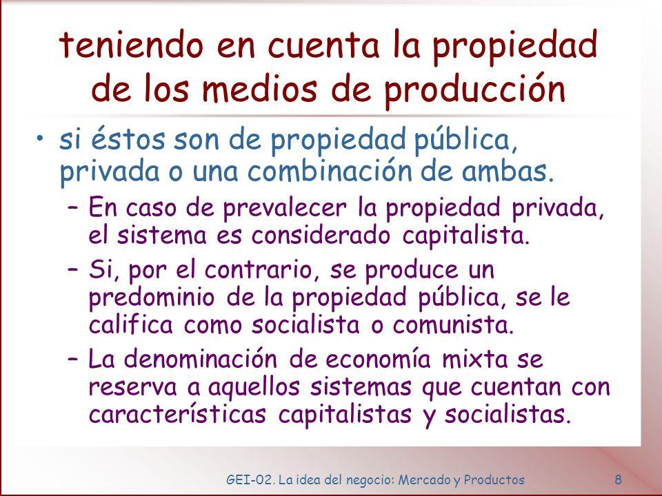GEI-02. La idea del negocio: Mercado y Productos8 teniendo en cuenta la propiedad de los medios de producción si éstos son de propiedad pública, priva