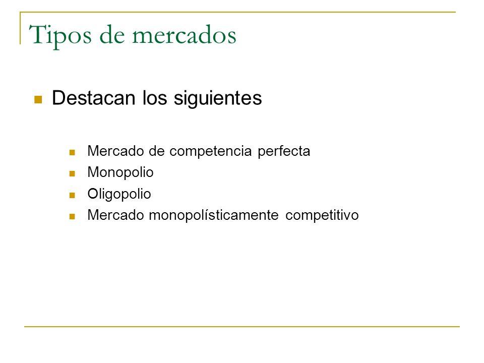 Tipos de mercados Destacan los siguientes Mercado de competencia perfecta Monopolio Oligopolio Mercado monopolísticamente competitivo