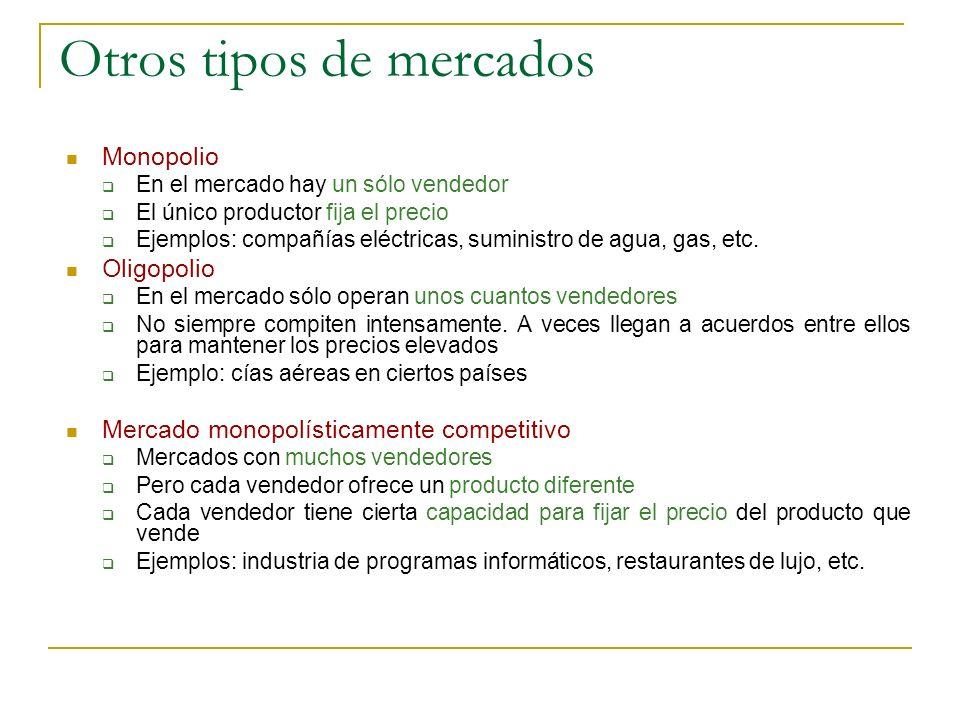 Otros tipos de mercados Monopolio En el mercado hay un sólo vendedor El único productor fija el precio Ejemplos: compañías eléctricas, suministro de a