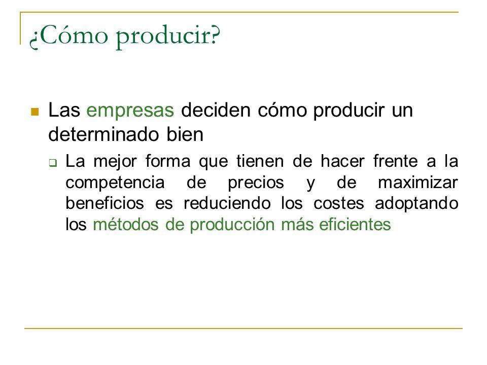 ¿Cómo producir? Las empresas deciden cómo producir un determinado bien La mejor forma que tienen de hacer frente a la competencia de precios y de maxi