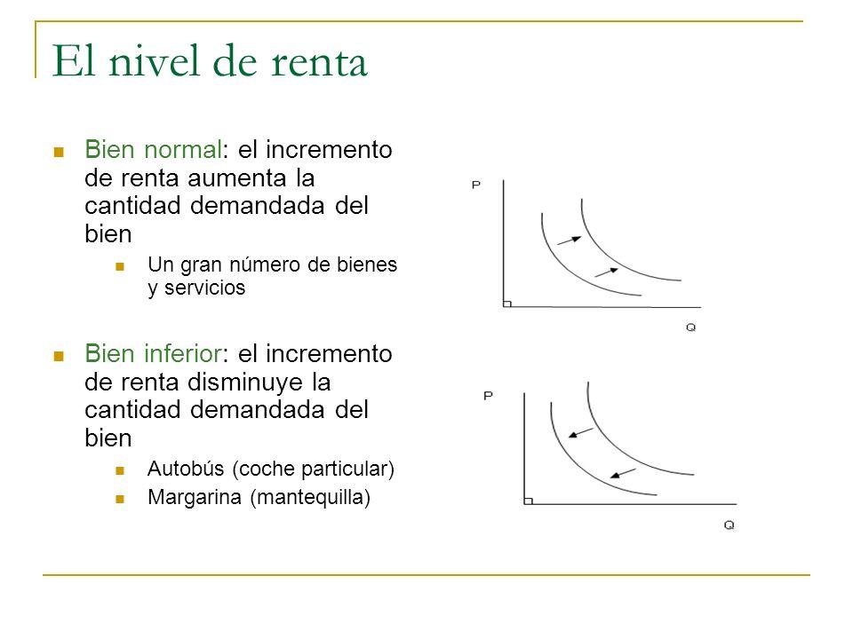 El nivel de renta Bien normal: el incremento de renta aumenta la cantidad demandada del bien Un gran número de bienes y servicios Bien inferior: el in