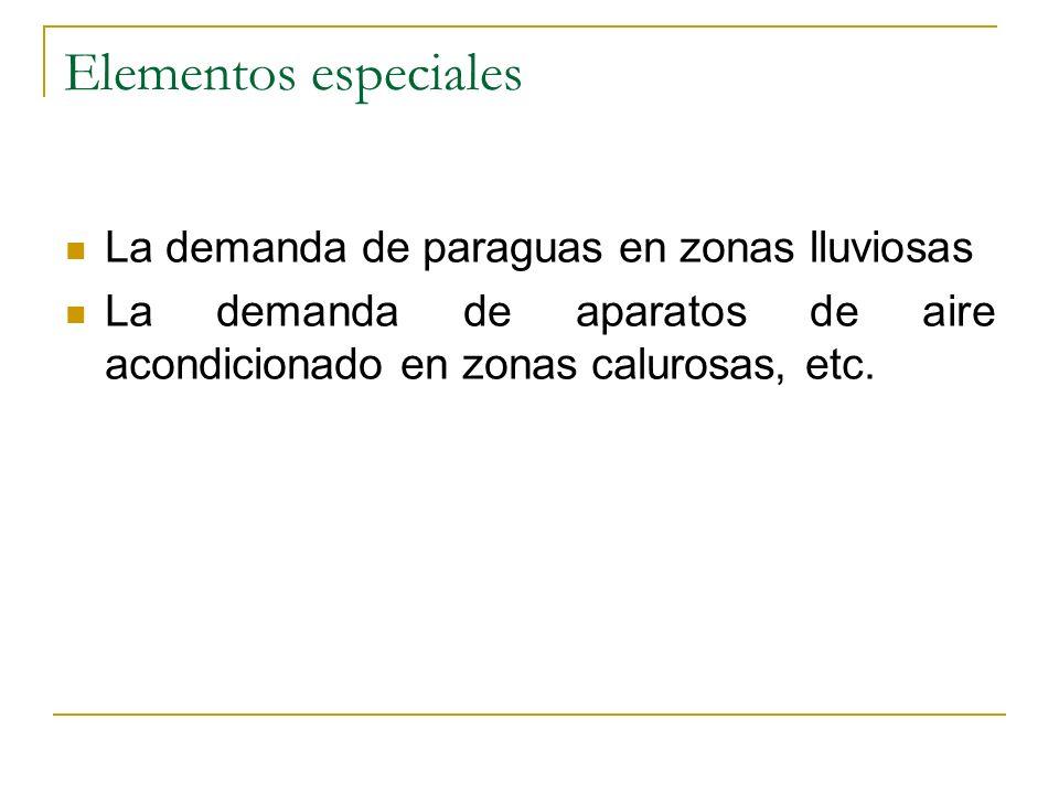 Elementos especiales La demanda de paraguas en zonas lluviosas La demanda de aparatos de aire acondicionado en zonas calurosas, etc.