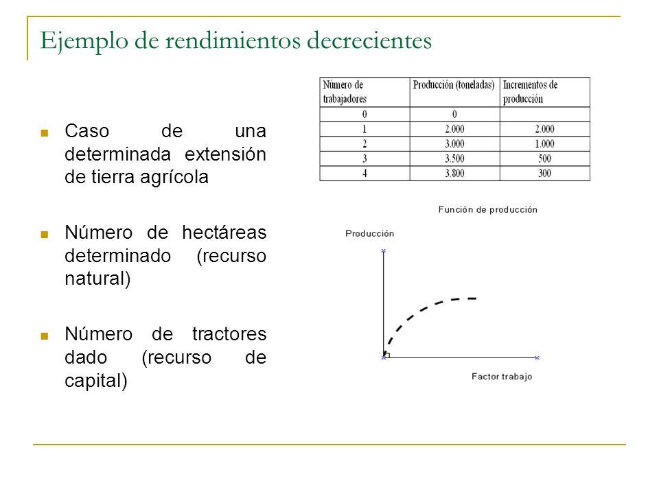 Ejemplo de rendimientos decrecientes Caso de una determinada extensión de tierra agrícola Número de hectáreas determinado (recurso natural) Número de