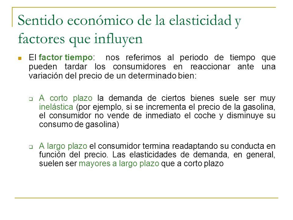 Sentido económico de la elasticidad y factores que influyen El factor tiempo:nos referimos al periodo de tiempo que pueden tardar los consumidores en