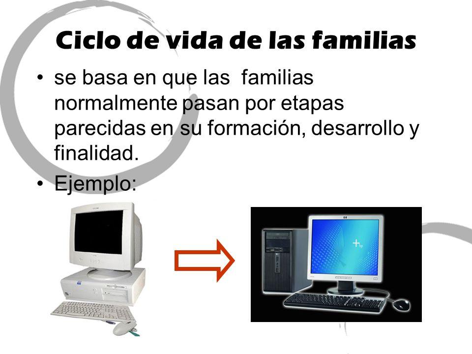 Ciclo de vida de las familias se basa en que las familias normalmente pasan por etapas parecidas en su formación, desarrollo y finalidad. Ejemplo: