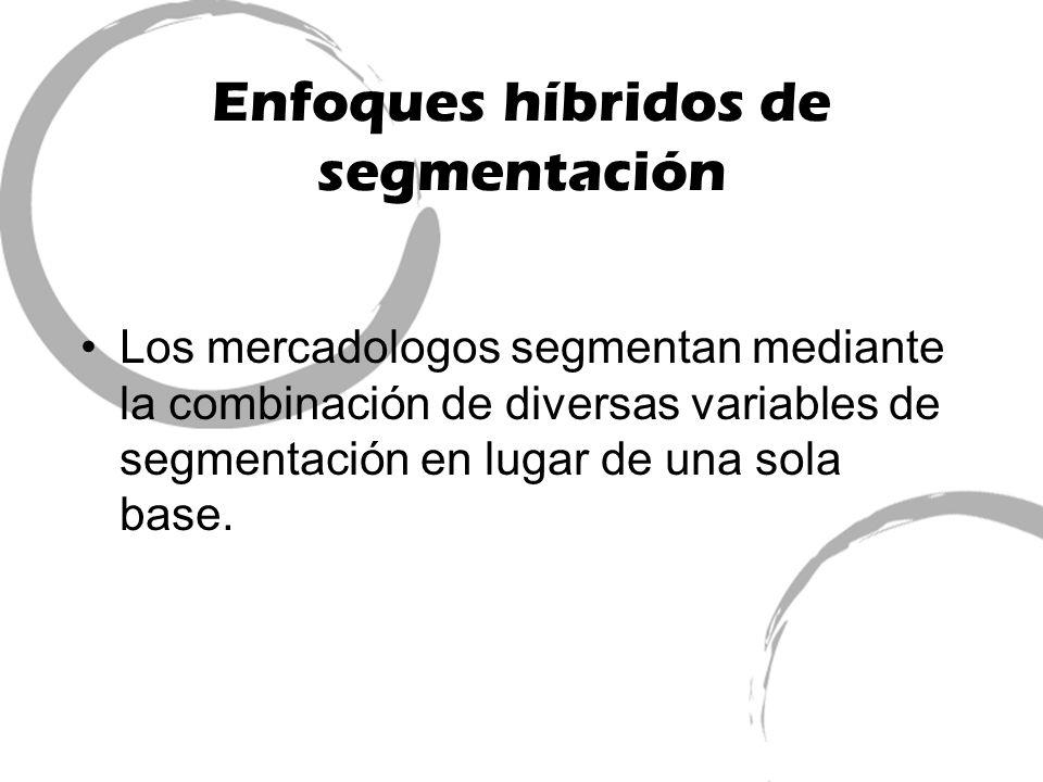 Enfoques híbridos de segmentación Los mercadologos segmentan mediante la combinación de diversas variables de segmentación en lugar de una sola base.