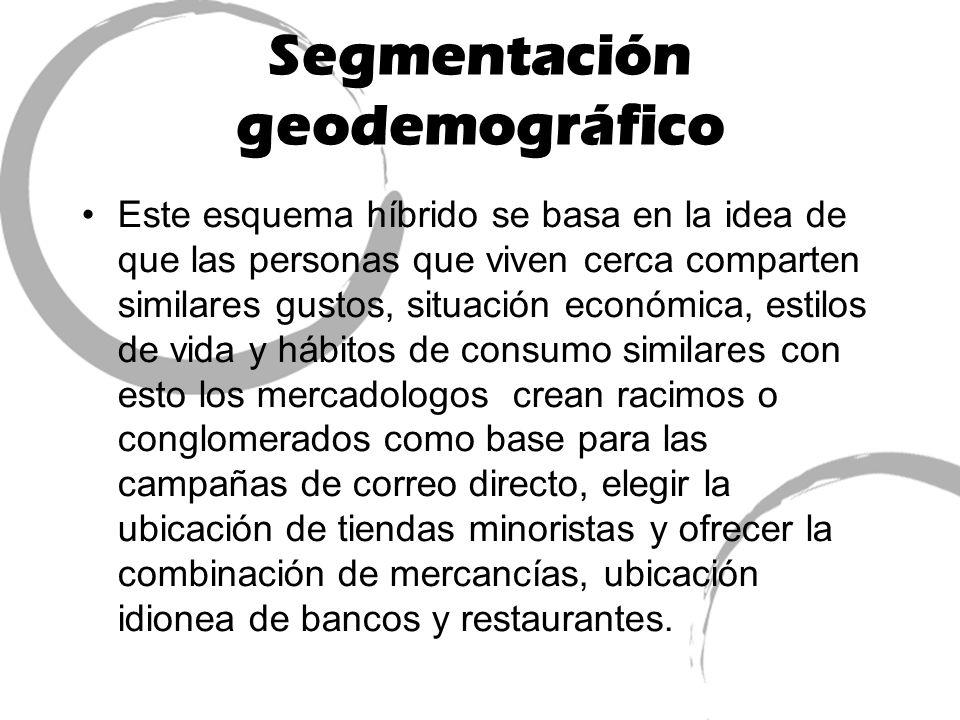 Segmentación geodemográfico Este esquema híbrido se basa en la idea de que las personas que viven cerca comparten similares gustos, situación económic
