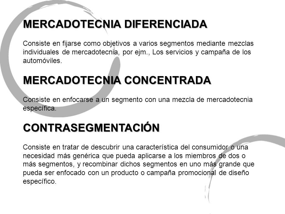 MERCADOTECNIA DIFERENCIADA Consiste en fijarse como objetivos a varios segmentos mediante mezclas individuales de mercadotecnia, por ejm., Los servici