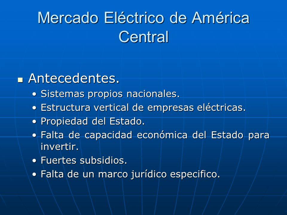 Mercado Eléctrico de América Central Antecedentes. Antecedentes. Sistemas propios nacionales.Sistemas propios nacionales. Estructura vertical de empre