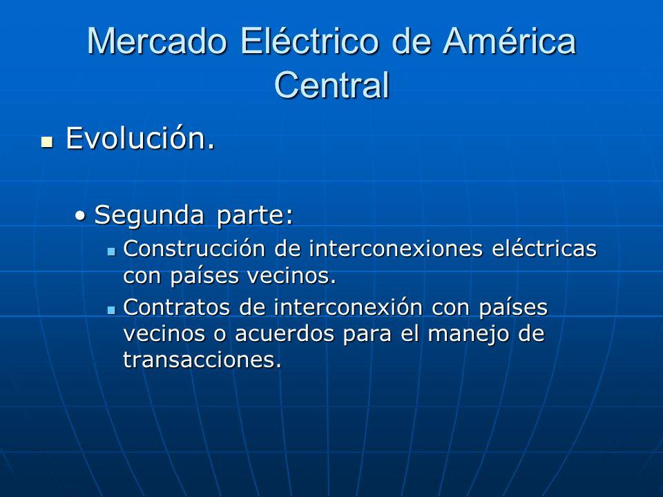 Mercado Eléctrico de América Central Evolución. Evolución. Segunda parte:Segunda parte: Construcción de interconexiones eléctricas con países vecinos.