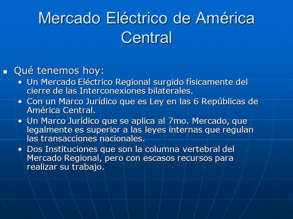 Qué tenemos hoy: Qué tenemos hoy: Un Mercado Eléctrico Regional surgido físicamente del cierre de las Interconexiones bilaterales.Un Mercado Eléctrico