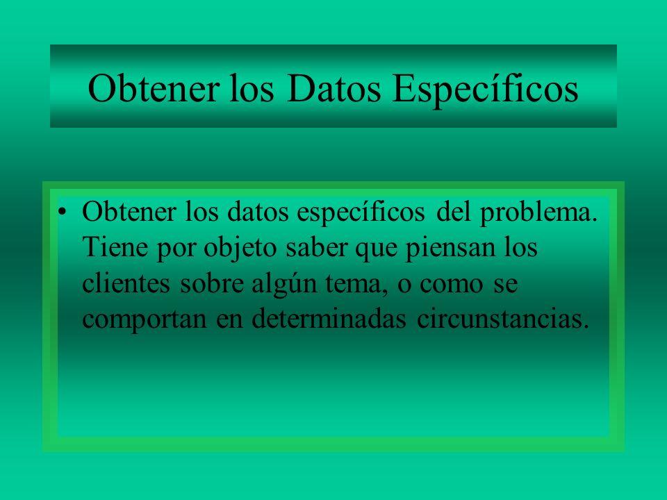 Obtener los Datos Específicos Obtener los datos específicos del problema. Tiene por objeto saber que piensan los clientes sobre algún tema, o como se