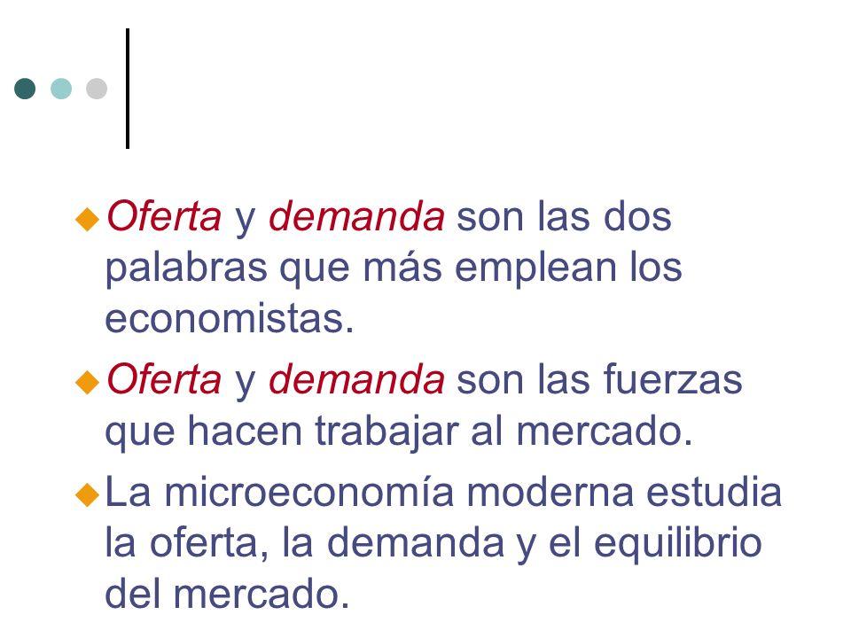 u Oferta y demanda son las dos palabras que más emplean los economistas. u Oferta y demanda son las fuerzas que hacen trabajar al mercado. u La microe