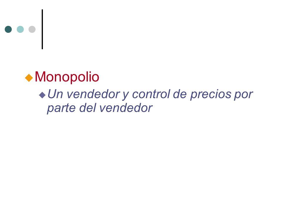 u Monopolio u Un vendedor y control de precios por parte del vendedor
