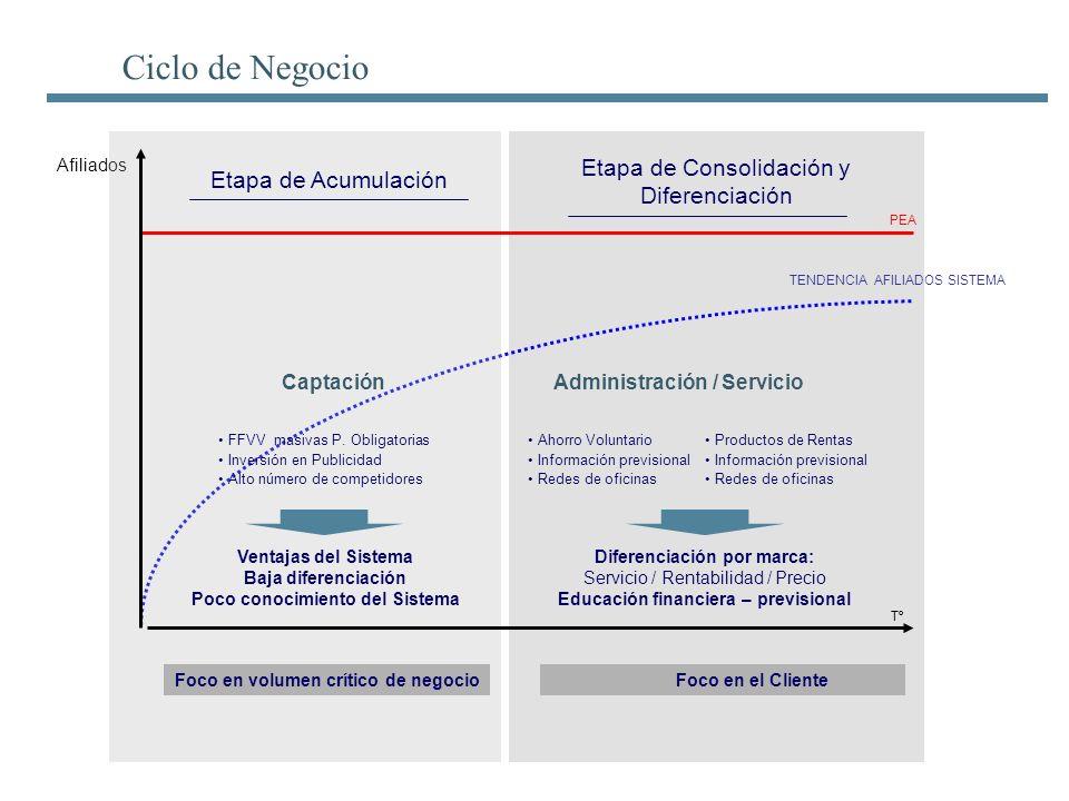 TENDENCIA AFILIADOS SISTEMA PEA Afiliados Tº Ciclo de Negocio Etapa de Acumulación Etapa de Consolidación y Diferenciación Captación FFVV masivas P. O