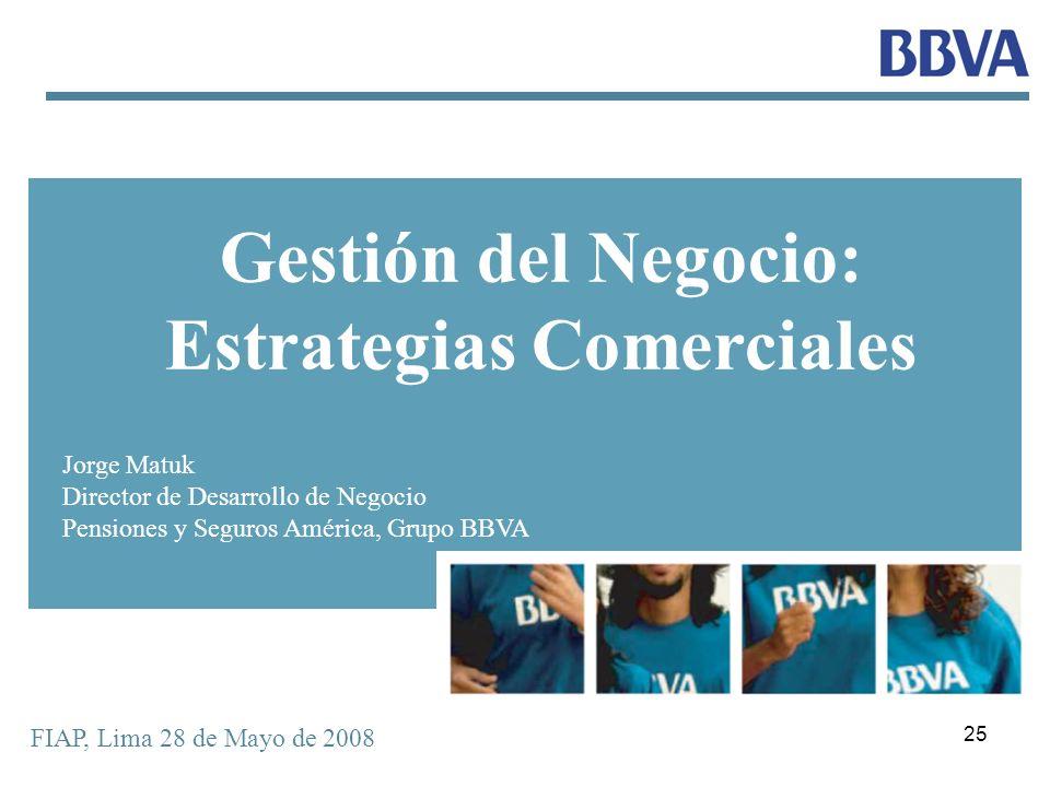 25 FIAP, Lima 28 de Mayo de 2008 Gestión del Negocio: Estrategias Comerciales Jorge Matuk Director de Desarrollo de Negocio Pensiones y Seguros Améric