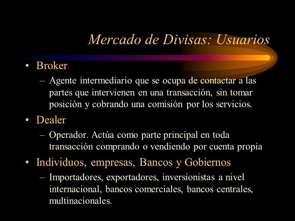 Mercado de Divisas: Usuarios Broker –Agente intermediario que se ocupa de contactar a las partes que intervienen en una transacción, sin tomar posició