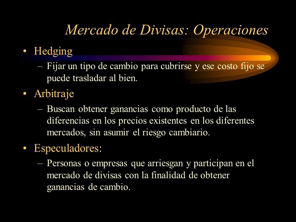 Mercado de Divisas: Operaciones Hedging –Fijar un tipo de cambio para cubrirse y ese costo fijo se puede trasladar al bien. Arbitraje –Buscan obtener