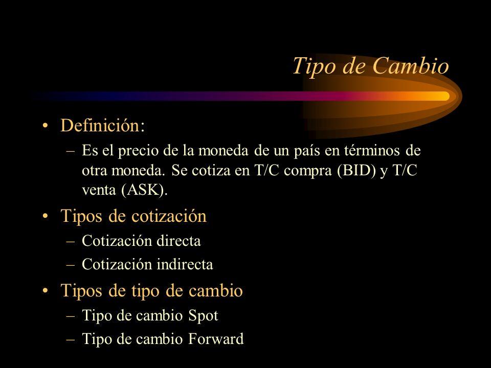 Tipo de Cambio Definición: –Es el precio de la moneda de un país en términos de otra moneda. Se cotiza en T/C compra (BID) y T/C venta (ASK). Tipos de