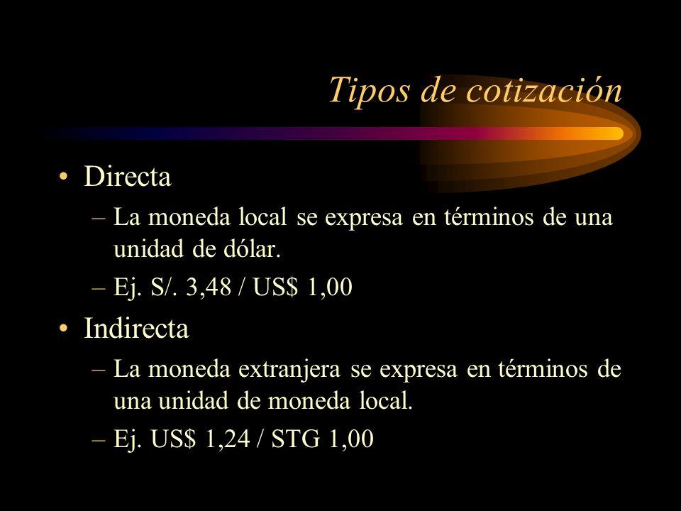 Tipos de cotización Directa –La moneda local se expresa en términos de una unidad de dólar. –Ej. S/. 3,48 / US$ 1,00 Indirecta –La moneda extranjera s