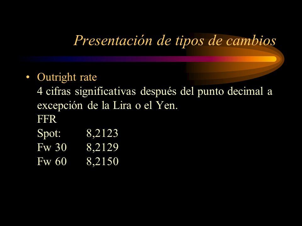 Presentación de tipos de cambios Outright rate 4 cifras significativas después del punto decimal a excepción de la Lira o el Yen. FFR Spot: 8,2123 Fw