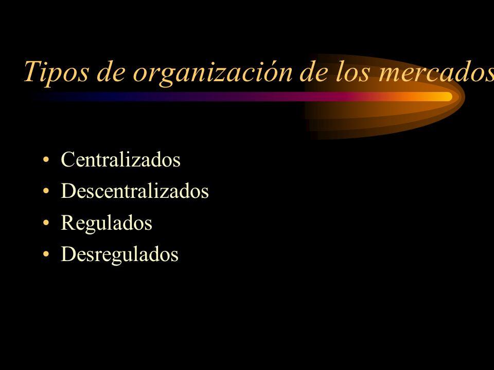Tipos de organización de los mercados Centralizados Descentralizados Regulados Desregulados