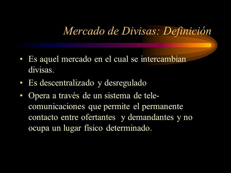 Mercado de Divisas: Definición Es aquel mercado en el cual se intercambian divisas. Es descentralizado y desregulado Opera a través de un sistema de t