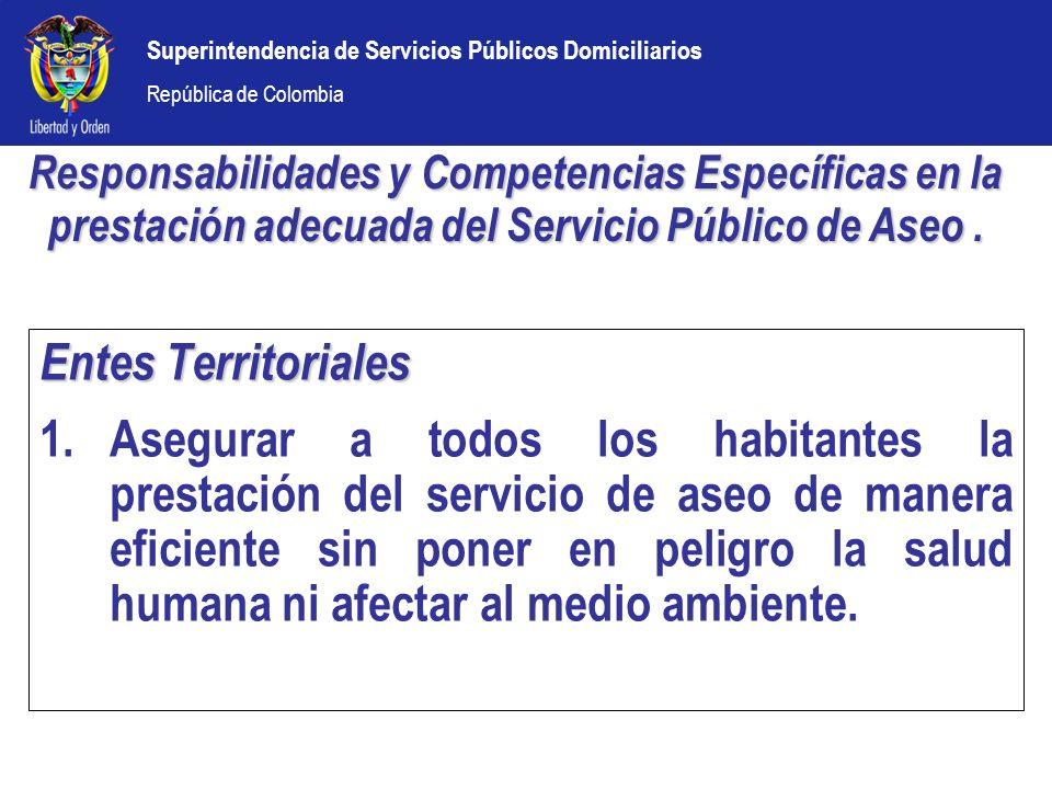 Superintendencia de Servicios Públicos Domiciliarios República de Colombia Entes Territoriales 1.Asegurar a todos los habitantes la prestación del ser