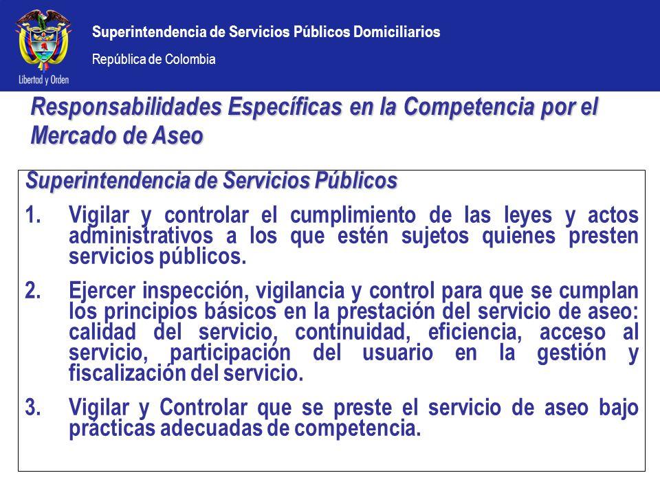 Superintendencia de Servicios Públicos Domiciliarios República de Colombia Superintendencia de Servicios Públicos 1.Vigilar y controlar el cumplimient