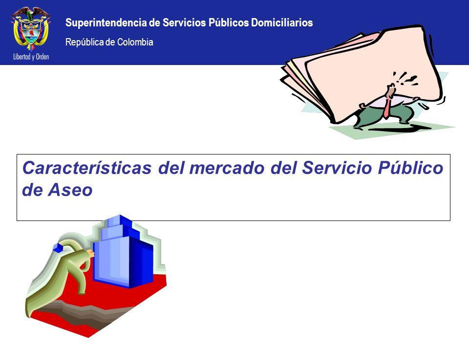 Superintendencia de Servicios Públicos Domiciliarios República de Colombia Composición del Mercado Las reformas introducidas por la Ley 142 de 1994 le dieron al sector la posibilidad de mayor participación, es así como en la actualidad hay operadores privados, oficiales y mixtos, en la prestación del servicio de aseo.