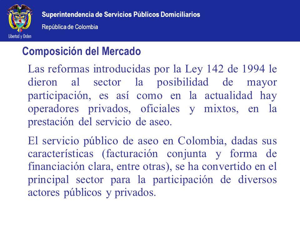 Superintendencia de Servicios Públicos Domiciliarios República de Colombia Composición del Mercado Las reformas introducidas por la Ley 142 de 1994 le