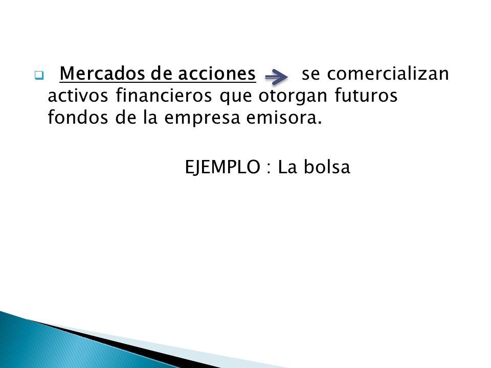 Mercados de acciones se comercializan activos financieros que otorgan futuros fondos de la empresa emisora.