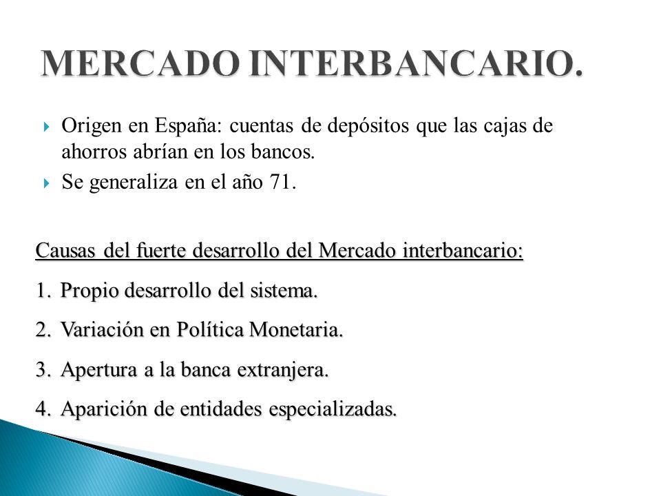 Origen en España: cuentas de depósitos que las cajas de ahorros abrían en los bancos.