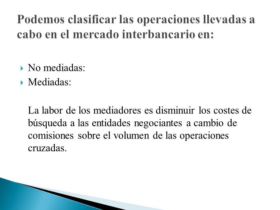 No mediadas: Mediadas: La labor de los mediadores es disminuir los costes de búsqueda a las entidades negociantes a cambio de comisiones sobre el volumen de las operaciones cruzadas.