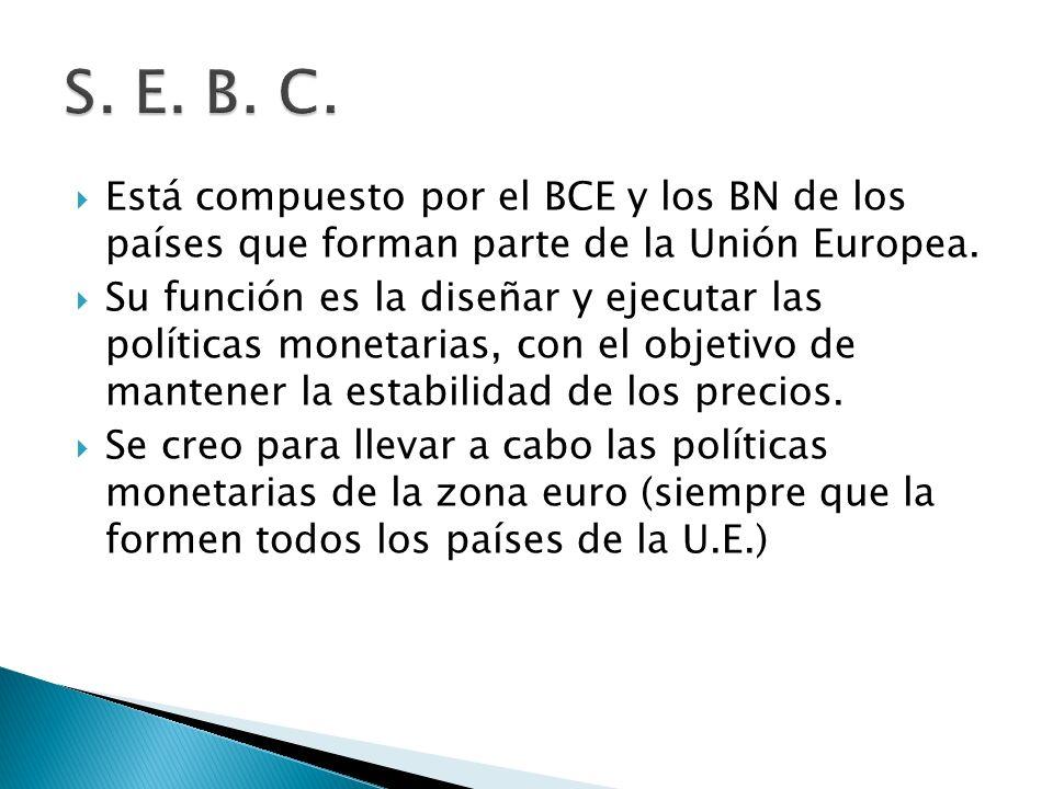 Está compuesto por el BCE y los BN de los países que forman parte de la Unión Europea.