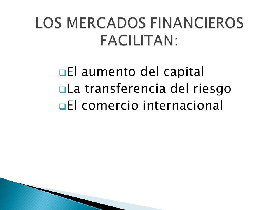 El aumento del capital La transferencia del riesgo El comercio internacional