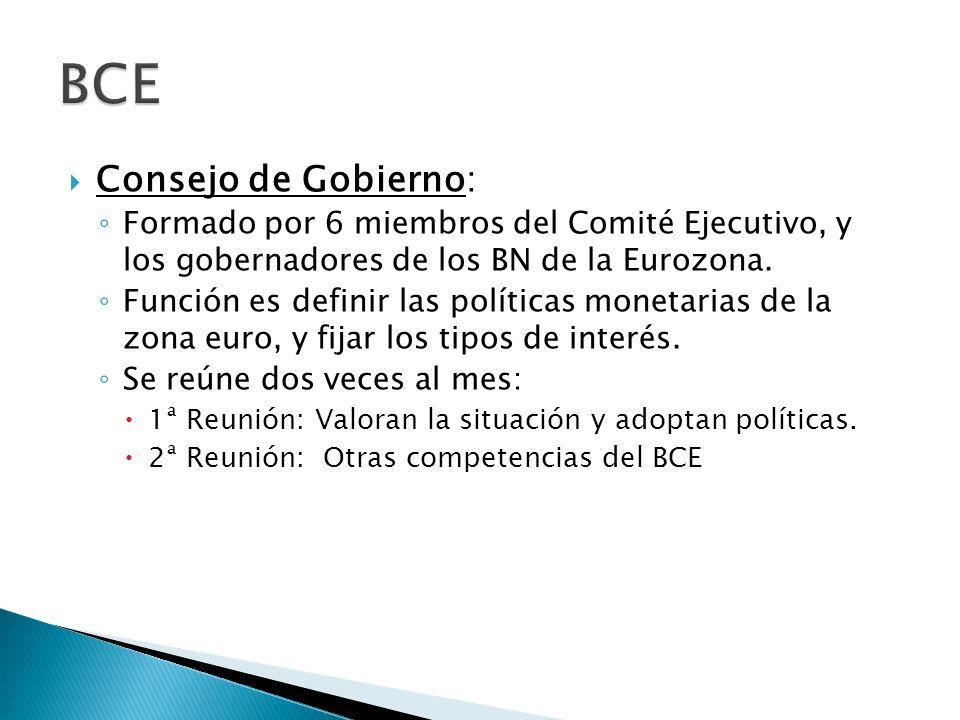 Consejo de Gobierno: Formado por 6 miembros del Comité Ejecutivo, y los gobernadores de los BN de la Eurozona.